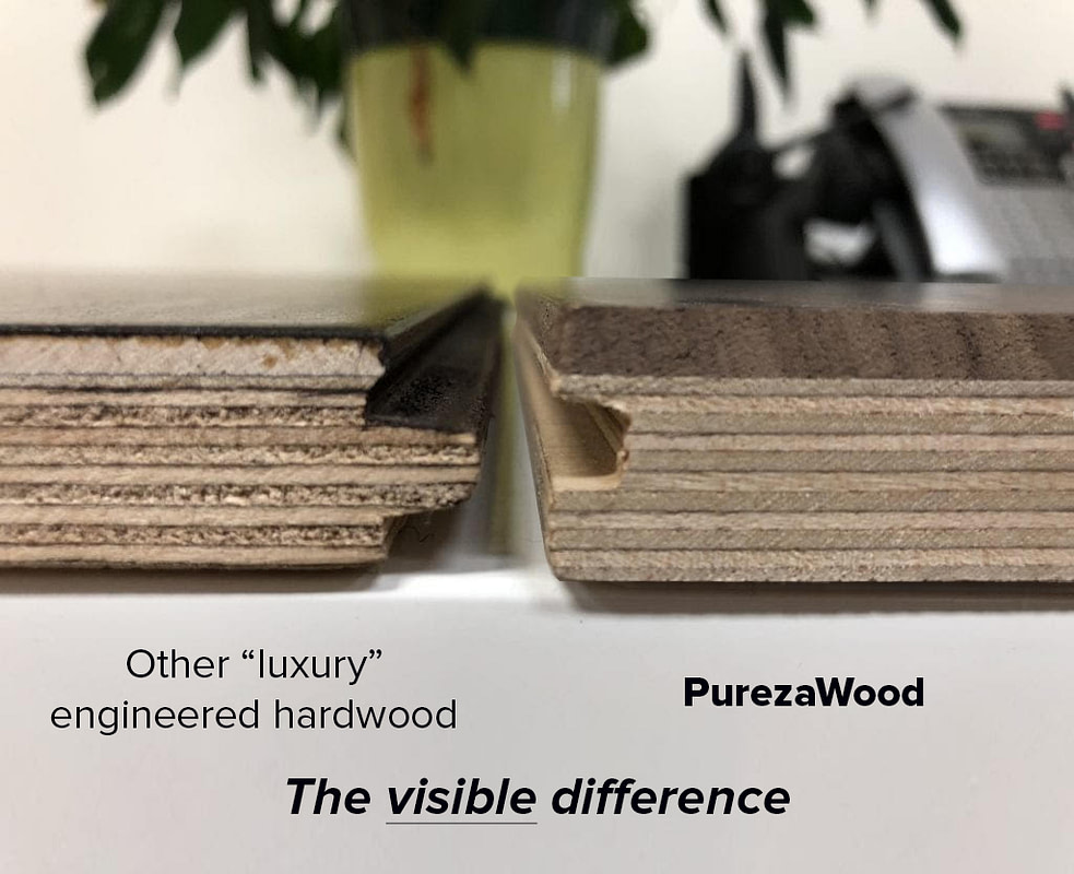 """Picture shows the differences between PurezaWood wide plank hardwood flooring and other """"luxury"""" kinds"""